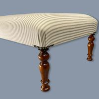 Buttoned Sage Green Ticking Stripe Footstool (5 of 6)