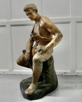 Large 1920s Plaster Figure of the Seated Blacksmith, Le Travail (4 of 12)