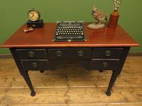 Antique Black Painted Writing Table Desk with Drawers, Gothic Shabby Chic (5 of 12)