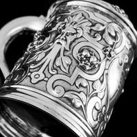 Antique Solid Sterling Silver Large Tankard with Royal Marines Officer Interest - Goldsmiths & Silversmiths Co 1900 (9 of 28)