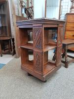 Carved Oak Revolving Bookcase (8 of 8)