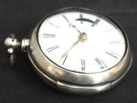 Antique Silver Pair Case Pocket Watch Fusee Verge Escapement Key Wind Enamel Dial (9 of 10)