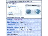 7.80ct High Zircon & 0.29ct Diamond, 18ct White Gold Drop Earrings - Antique c.1910 (8 of 9)