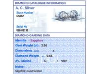 2.05ct Sapphire & 0.65ct Diamond, 18ct White Gold Stud Earrings - Vintage 1958 (8 of 9)
