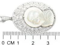 Mother of Pearl & 0.45ct Diamond, Platinum Pendant - Antique c.1920 (6 of 9)