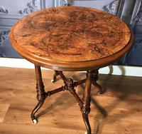 Victorian Burr Walnut & Marquetry Occasional Table (8 of 10)