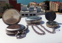 Victorian Solid Silver Omega Gurzelen Pocket Watch & Solid Silver Albert Chain (6 of 8)