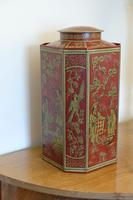 Matching Pair of Octagonal Toleware Canisters (3 of 6)