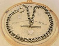 Victorian Pocket Watch Chain 1890s Antique Albo Silver Curb Link Albert With T Bar (2 of 12)