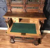 Victorian Carved Oak Secretaire Bookcase (23 of 25)