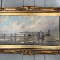 Antique marine seascape oil painting of fishing scene signed W Richards 2 of 2 (7 of 10)