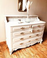 Antique Style Chest of Drawers with Marble Gallery / Grey Drawers (5 of 7)