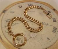 Antique Pocket Watch Chain 1890s French Victorian 14ct Rose Gold Filled Albert (2 of 12)
