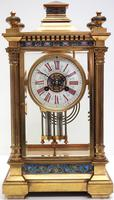 Antique French Table Regulator with Compensating Pendulum 8 Day 4 Glass Mantel Clock (2 of 12)