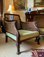 19th Century Antique Mahogany Upholstered 3 Piece Bergere Sofa Suite Armchairs Settee (5 of 15)