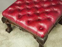George III Style Mahogany and Leather Upholstered Centre Stool (6 of 8)