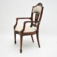 Antique Edwardian Inlaid Mahogany Armchair (3 of 11)