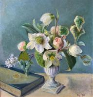 Fabulous Original 20th Century Floral Still Life Study Oil on Board Painting (2 of 11)