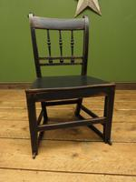 Small Antique Wooden Black Painted Chair, Gothic Shabby Chic (11 of 13)