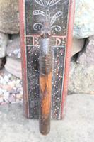 Scandinavian / Danish 'Folk Art' Horse handle mangle board with chip carving & original  black/red paint BPD c.1820 (7 of 19)