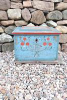 Swedish 'folk art' original blue paint box from hälsingland region, 1847. (7 of 26)