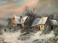 Very Large Outstanding 19th Century British Winter Snow-capped Landscape Oil Painting (3 of 13)