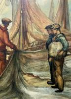 Cornish School - Large early 1900s Oil Painting of Fishermen Pulling in the Nets (8 of 14)