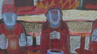 Large watercolour Temple Scene Listed Vietnamese artist Kha Nygun (7 of 10)