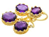 9.15ct Amethyst & 21ct Yellow Gold Chandelier Earrings - Antique c.1895 (4 of 9)