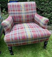 Pair of French Upholstered Armchairs in Tartan (2 of 6)