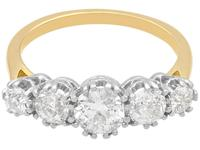 1.92ct Diamond & 18ct Yellow Gold Five Stone Ring - Vintage c.1940 (3 of 9)