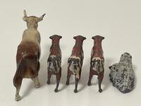 Set Miniature Antique French Lead Cold Painted Farm Animals Cow Calves Sheep (17 of 20)