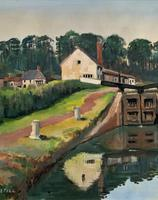 'Lapworth Canal, Warwickshire' Exceptional Vintage Oil on Canvas Painting c1960 (3 of 13)