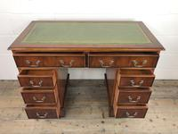 Late 20th Century Yew Wood Pedestal Kneehole Desk (12 of 14)