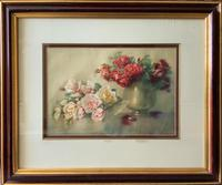 Isidore Rosenstock (1880-1956) Still Life of Roses Floral Watercolour Painting