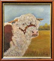 'Prized Herefordshire Bull' Enchanting Vintage Oil Portrait Painting Cow Study'