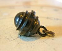 Antique Pocket Watch Chain Fob 1890s Victorian Black Vulcanite Ball Fob (2 of 7)
