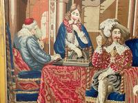 """Large Artwork Gilt Gesso Framed 19th Century Tapestry French Royal Court """"Playing Chess"""" (18 of 44)"""