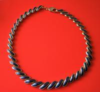 Excellent Vintage Gilt Blue Enamel Necklace & Bracelet Boxed Set  - Ideal Gift / Present (3 of 7)
