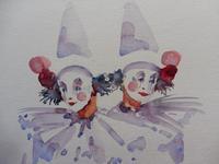 Watercolour Two Clowns Listed Irish Artist Judith Caulfield Walsh (3 of 10)