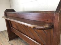 Antique Pitch Pine Church Pew with Enamel Number 27 (12 of 13)