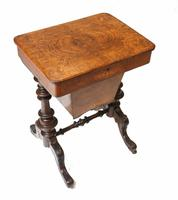 Victorian Sewing Table Antique Burr Walnut 1860 Side Tables (2 of 11)