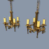Pair of Gilt Metal Ceiling Pendant Lights (2 of 7)
