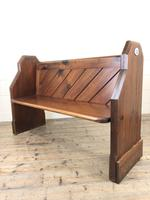 Antique Pitch Pine Church Pew with Enamel Number 28 (3 of 12)