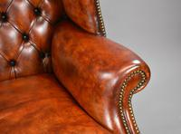 George II Style Brown Leather Hand Dyed Wingback Armchair (11 of 17)
