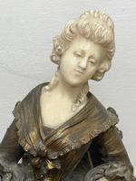 Important Art Nouveau Bronze Marble Seated Lady Sculpture By Xavier Raphanel (16 of 39)