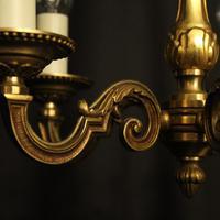 French 5 Light Gilt Brass Antique Chandelier (5 of 9)