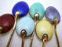 Superb Vintage Solid Sterling Silver Gilt & Enamel English Hallmarked Coffee Spoons Cased Boxed Set 1953 (8 of 10)