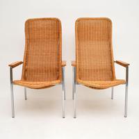 Pair of Vintage Chrome & Rattan Armchairs by Dirk Van Sliedrecht (3 of 11)