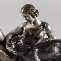 Stunning French Art Deco Bronze & Silvered Sculpture. Signed A.Ouline - Lady & Panther (10 of 11)